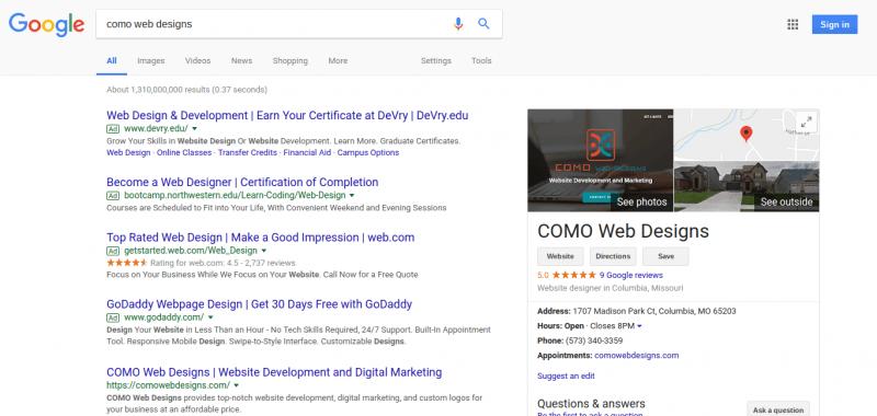 como web designs google my business